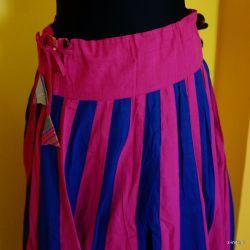Gopi dress - pasy różowo - granatowe