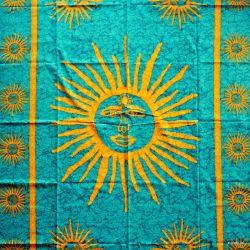 Obrus - słońce - turkus