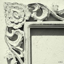 Rama drewniana - białe zarośla - mat