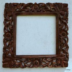 Rama drewniana - brazowy liść - mat