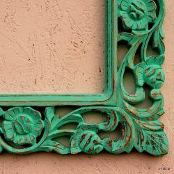 Rama drewniana - turkusowa lilia - mat