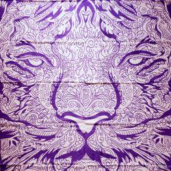 Narzuta bawełniana - fioletowy lew
