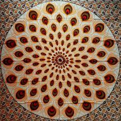 Narzuta bawełniana - pawie pióra - pomarańcz