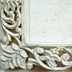 Rama drewniana - posrebrzane lilie - półmat