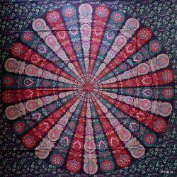 Narzuta bawełniana - wietrzna mandala - fiolet