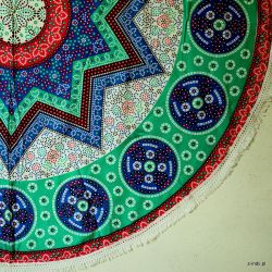 Obrus - mandala z frędzlami - kalejdoskop