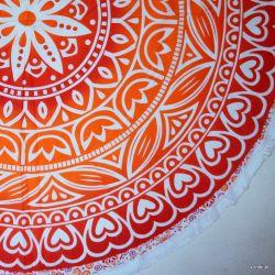 Obrus - mandala z frędzlami - folklor