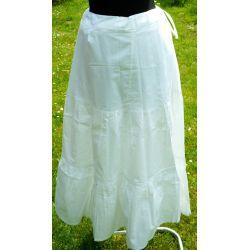 Spódnica - 3 falbany - biała