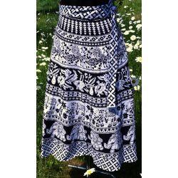 Spódnica indyjska  kopertowa - krótka - biała z pawiami