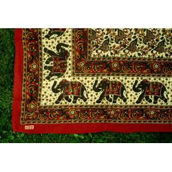 Narzuta bawelniana - mandala - brązowe słonie