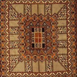 Narzuta bawełniana - pałacowe puzzle - czekolada
