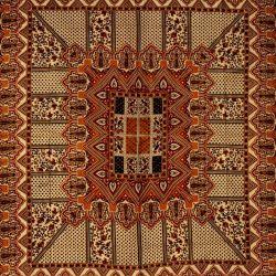 Narzuta bawełniana - pałacowe puzzle - bordo