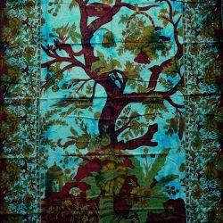 Obrus - drzewo życia - turkus