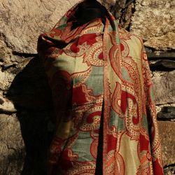 Szal indyjski - paisley -  rudy z pistacją