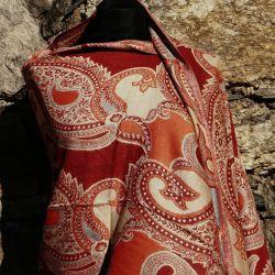 Szal indyjski - paisley -  rudy z beżem