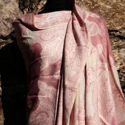 Szal indyjski - paisley -  ecru z różem