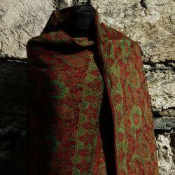Szal nepalski - paisley - brunatny z zielenią