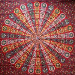 Narzuta bawełniana - wietrzna mandala - karmazyn