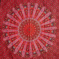 Obrus - kwietna mandala - czerwień