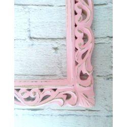 Ramka drewniana - klasyczna różowa