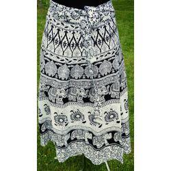 Spódnica indyjska  kopertowa - krótka - biała - z kwiatami