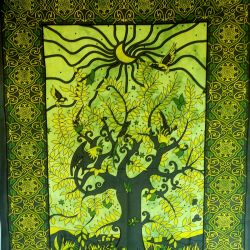 Obrus - zasłona - okno - zieleń
