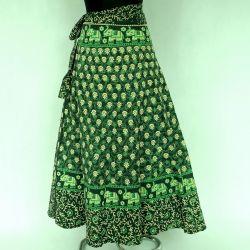 Spódnica indyjska  kopertowa - długa - zielona łąka