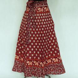 Spódnica indyjska  kopertowa - długa - wiśniowa łąka