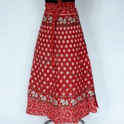 Spódnica indyjska  kopertowa - długa - karmazynowa łąka