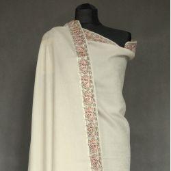Szal indyjski - 100% wełna - ecru z haftem
