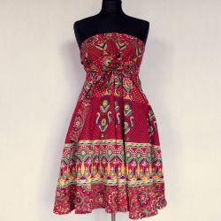Spódnica - indyjska  kopertowa - krótka - folk - karmazyn