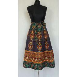 Spódnica - indyjska  kopertowa - krótka - folk - sosnowa zieleń