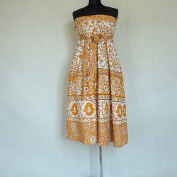 Spódnica indyjska  kopertowa - długa - musztardowe pnącza