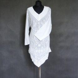 Tunika indyjska bawełniana - długa - haftowana z koronką