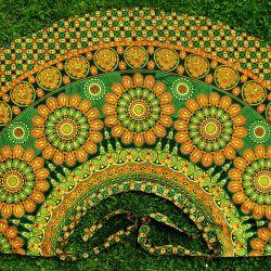 Spódnica indyjska kopertowa - długa - w mandale - zielona
