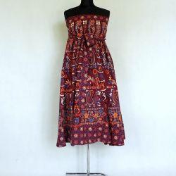 Spódnica indyjska  kopertowa - długa - paisley - wiśniowa