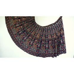 Spódnica indyjska  kopertowa - długa - paisley - granatowa