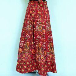 Spódnica indyjska  kopertowa - długa - paisley - czerwona