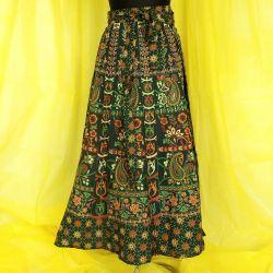 Spódnica indyjska  kopertowa - długa - paisley - sosnowa