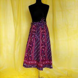 Spódnica indyjska  kopertowa - krótka - fioletowe kliny