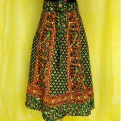 Spódnica indyjska  kopertowa - krótka - zielone kliny