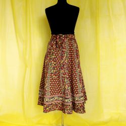 Spódnica indyjska  kopertowa - krótka - czerwone kliny