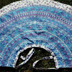 Spódnica indyjska  kopertowa - długa - z lazurem