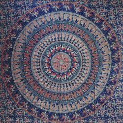 Narzuta bawełniana - mandala - procesja - atrament