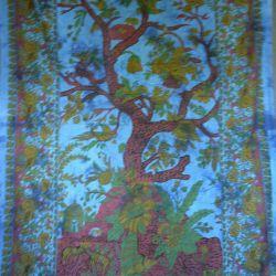 Obrus - makata - drzewo życia - dżins