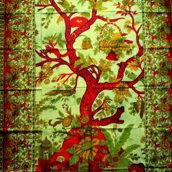 Obrus -makata - drzewo życia - zielony