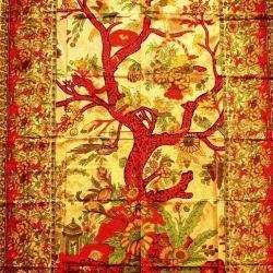 Obrus - makata - drzewo życia - żółty